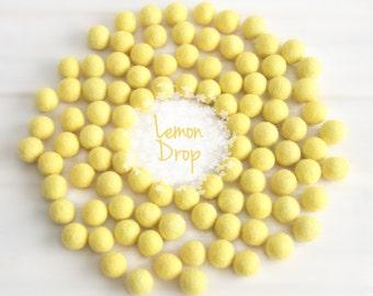 Wool Felt Balls - Size, Approx. 2CM - (18 - 20mm) - 25 Felt Balls Pack - Color Lemon Drop-6015- 2CM Felt Pom Poms - Bright Yellow Felt Balls