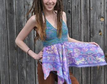 SALE Fly Away Apron Top // Ooak Organic Cotton and Silk Crochet Halter