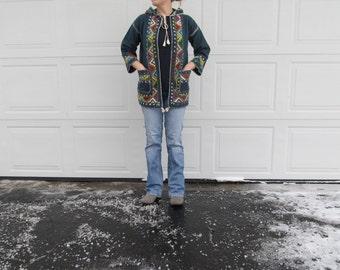 1960s ethnic,hand  embroidered wool hoodie cowichan, noho hoodie