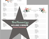 F L O R A L - Password Log - 2 Designs - Instant Download / PDF