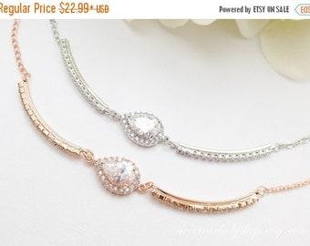 SALE Personalized Bridesmaid Gift, Mother of Bride Gift, Bridesmaid Bracelet, Wedding Bracelet, Bridal Bracelet, Rose Gold Teardrop Bracelet