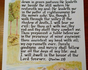 The Twenty-Third Psalm Art Print/Psalm 23 print/The Lord is My Shepherd