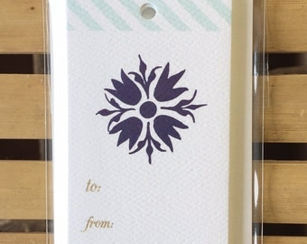 GT912 - flower gift tag - set of 8