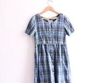 Grunge Plaid 90s Babydoll Mini Dress
