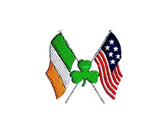 Irish American Flags Embroidery Design