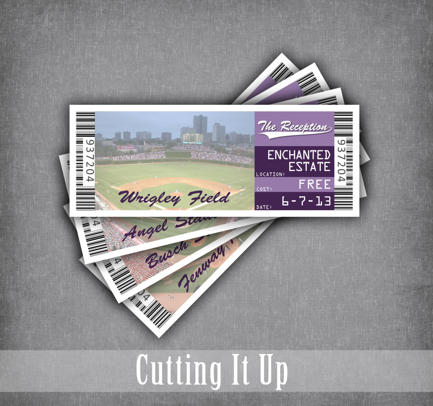 Baseball Wedding Ticket Place Cards Seating Cards Reception