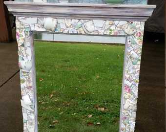 China and Tempered Glass Mosaic on Repurposed Mirror OOAK