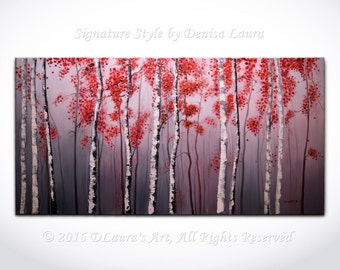 Modern Birch Tree Painting on Grey ORIGINAL Palette Knife Oil Landscape Gallery Art on 40x20 by Denisa Laura