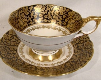 Royal Stafford 8498 Black Gold Roses & Asters Brocade Tea Cup Saucer 1950s