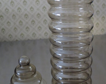 JUST Reduced!! Vintage PRIMULA Smoked Glass Apothecary Jar, Jacob Bang Design for Holmegaard, Mid-Century Danish Modern