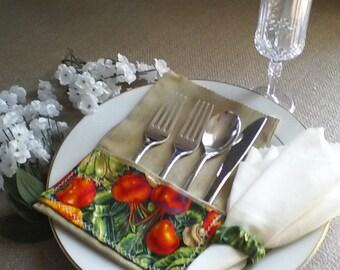 Cutlery Pocket Holder Satiny Napkin Holder- Kitchen Tableware- Silverware Holder