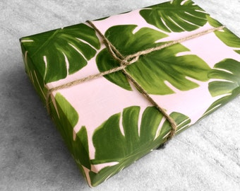 Palm Leaves Gift Wrap, fine wrapping paper, all occasion, flat sheet paper, illustrated monstera