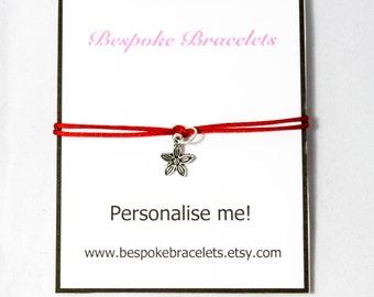 Personalised Bracelet | Custom friendship bracelet | Stackable bracelet | Bracelet gift | Jewellery gift | Flower Charm | Boho bracelet