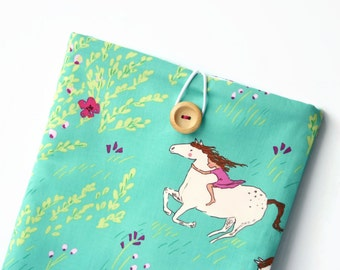 iPad Pro Case, iPad Air 2 Sleeve, iPad Cover - Custom Pink and Green Padded Tablet Sleeve for iPad Pro 9.7, 12. Wild Horse