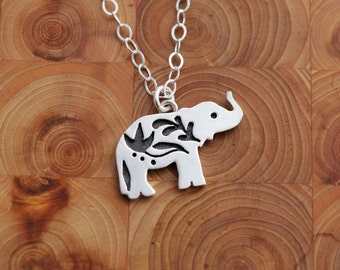 Tiny Elephant Pendant with Indian Flower Design - Sterling Silver Charm Necklace - Silversmith Necklace - Portion of Proceeds to Charity