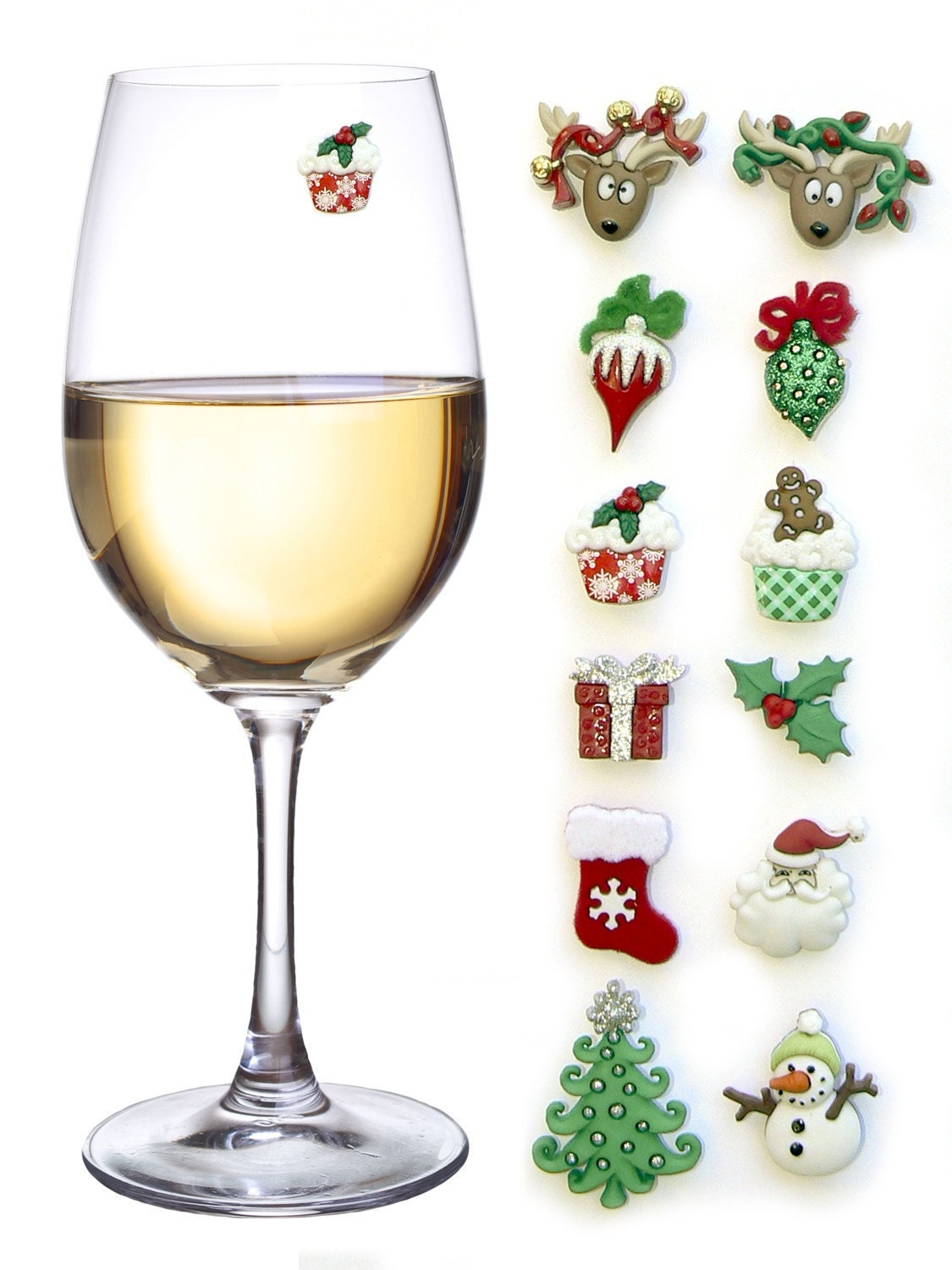 Christmas wine glass charms magnetic drink markers set of 12 for Holiday stemware