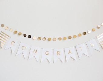 Large 46 Letter Banner Garland Alphabet Pennant Ivory Gold Foil Wedding Birthday Party Anniversary Baby Shower Bridal
