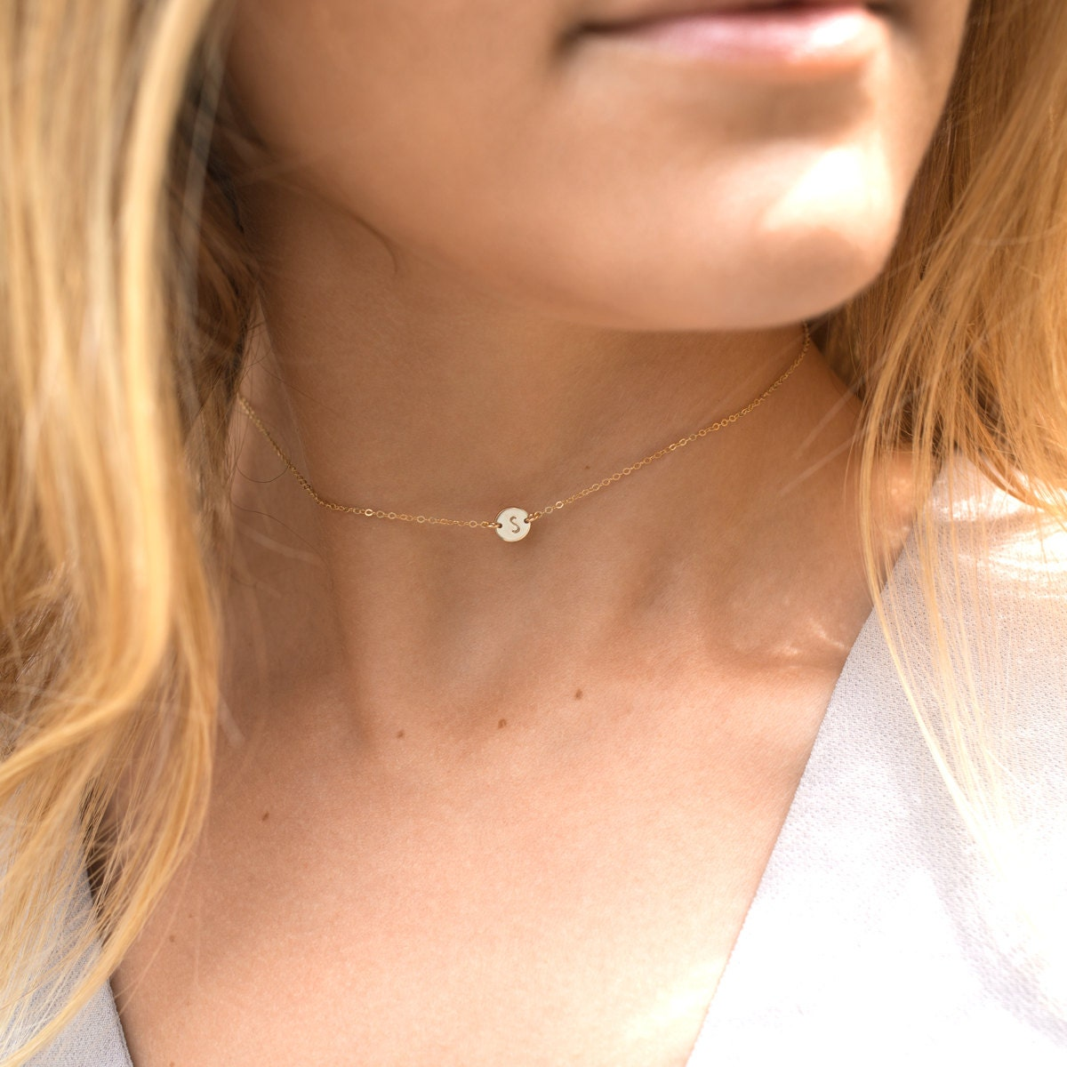 Initial Choker Necklace Dainty Personalized Or By