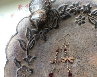Dragonfly earrings natural brass