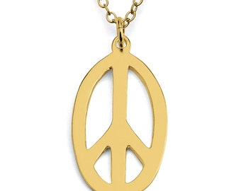 Oval Peace Sign Hippie Symbol Charm Pendant Necklace #14K Gold Plated over 925 Sterling Silver #Azaggi N0035G