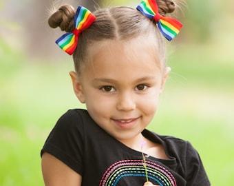 Rainbow Hair Bows, Rainbow Bows, Rainbow Pigtail Bows, Rainbow Hair Clips, Rainbow Birthday Bows, School Hair Bows, Bow Clips, Tuxedo Bows