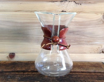 Vintage CHEMEX Glass Coffee Maker Vessel, Pyrex Brand Pour Over Glass, Mid Size 32 oz Carafe, Borosilicate Glass