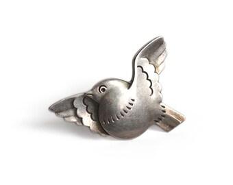 Vintage Georg Jensen Round Breasted Bird Brooch - Arno Malinowski Design 320 Denmark Sterling Silver Pin