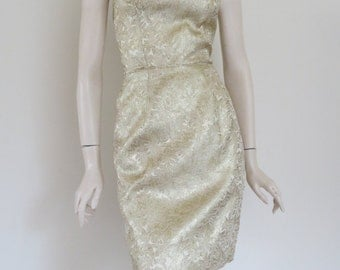 VaVoom! 60s Lilli Diamond Gold Metallic Brocade Wiggle Dress / Bombshell / Pin Up / Small