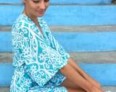 Bridesmaid Robe, Short Kimono Robe UN-LINED - Ikat TEAL