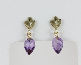 10k Yellow Gold Amethyst Briolette Dangle Drop Earrings