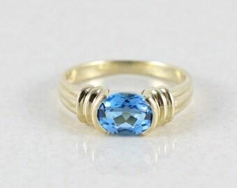 Blue Topaz 10k Yellow Gold  Blue Topaz Ring Size 7