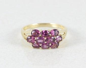 14k Yellow Gold Ring Rhodolite Garnet Band Ring Size 7 3/4