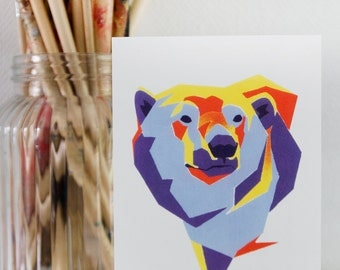 Polarbear Geometric Illustration Postcard