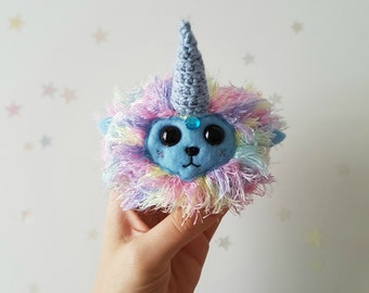 Pastel Rainbow Unicorn Doll - Crochet Amigurumi Desk Pet - Pretend Play - Nursery Decor - WhimsyHen Toy