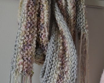 Hand Knitted Scarf, Dawn Sky, Wearable Art, Luxurious Cowl Hand