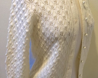 60's Vintage 100% Orlon Acrylic White Knit Cardigan Sweater by Boepple Creations Ladies Size Small