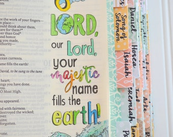 Bible Tabs with Laminating Stickers... INSPIRE set... 66 Books of the Bible... Self Adhesive... Mint, Aqua, Coral, Yellow, Tan