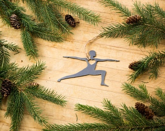 Love Yoga Warrior Pose Christmas Ornament Rustic Metal Ornament Recycled Steel Holiday Gift Industrial Decor Wedding Favor