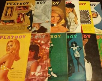Vintage 1967 Playboy Magazine Full Year (12 issues)