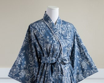 Lined Kimono Robe • Custom Womens Mid calf robe • Bathrobe • Maternity Robe • Getting ready • Cotton Hospital Gown • MF Line Blue Floral