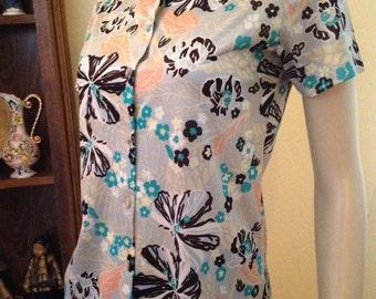 Great Seventies Light Blue Flower Buttton Up Shirt by Graff, California