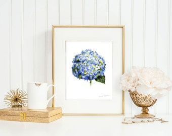 Flower Painting Art Print by Michelle Mospens, Flower Print, Hydrangea Print