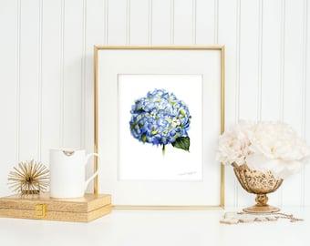 Hydrangea Print, Hydrangea Art, Hydrangea Watercolor, Hydrangea Painting, Flower Print, Flower Wall Art by Michelle Mospens