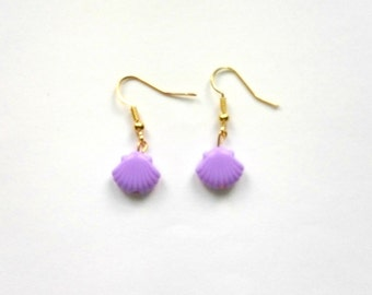 Purple Seashell Earrings, Mermaid Earrings