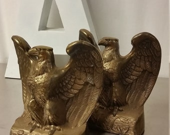 Vintage Brass Pair of Eagle Bookends