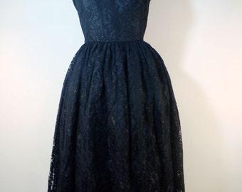 black lace full skirt 1950s style dress
