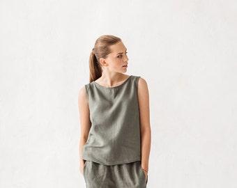 Basic linen top / Linen tank top / Linen blouse / Pine green linen top / #18