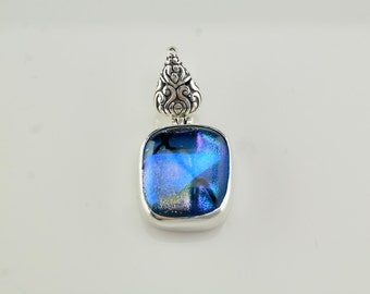 Blue Fused Glass Sterling Silver Pendant 1 2/5 Inch Tall Vintage Purple