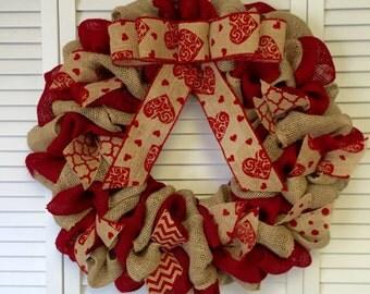 Valentines Day Wreath, Red Burlap Wreath, Valentines Decor