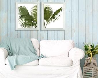 Tropical Decor - 2 print set Fan Palm Green on white - Tropical Leaves tropical print botanical print wall art beach house tree hawaii